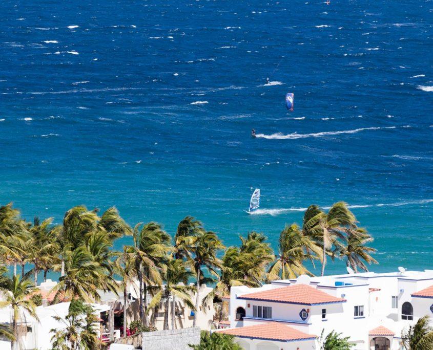 The kitesurf spot at Vela Baja seen from far
