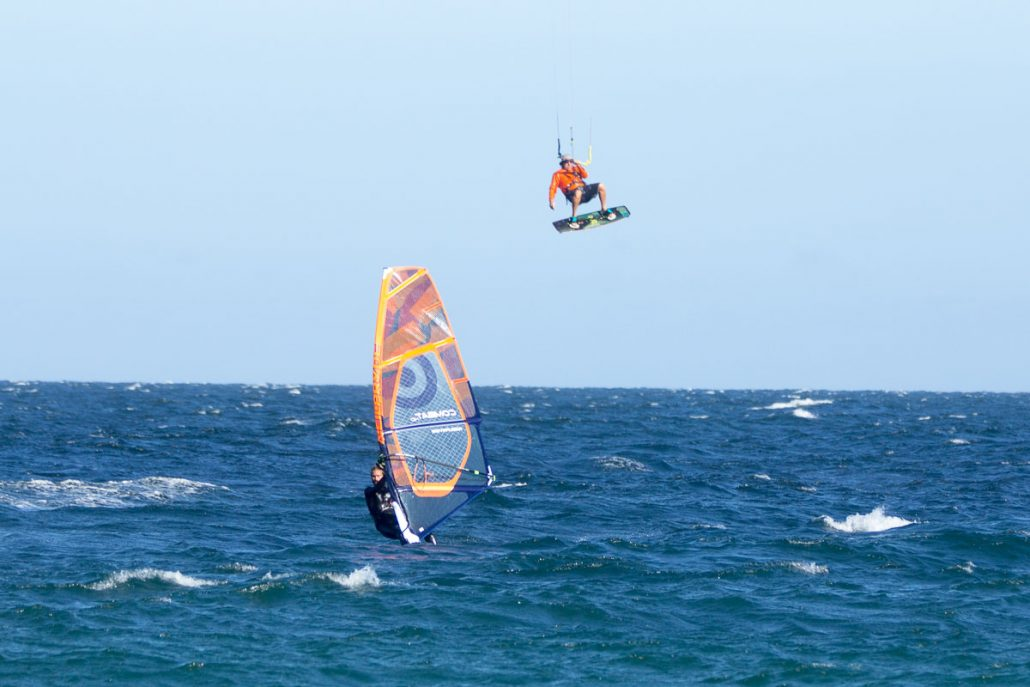 windsurfer and kiteboarder