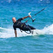 Finch kitesurfing at Vela Baja