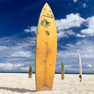 Surf-board in sand