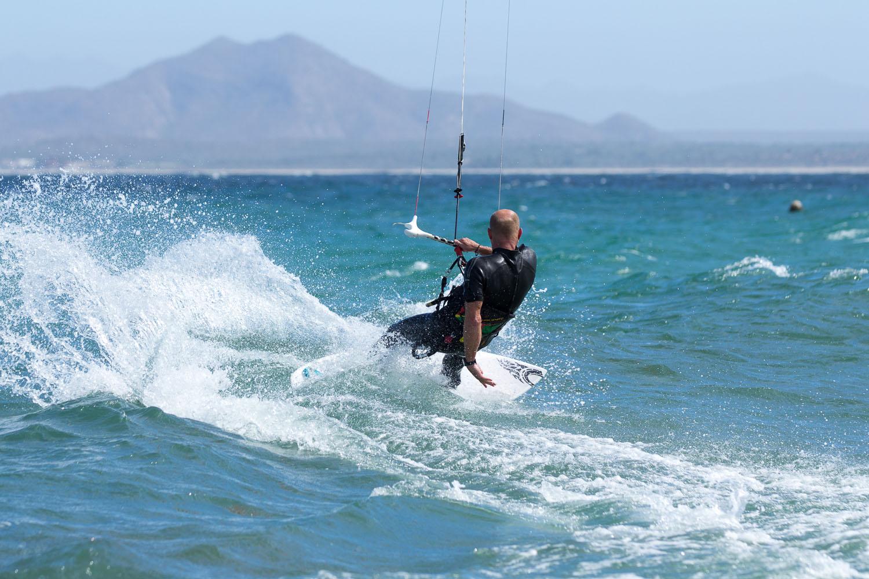 Kite surf wave riding