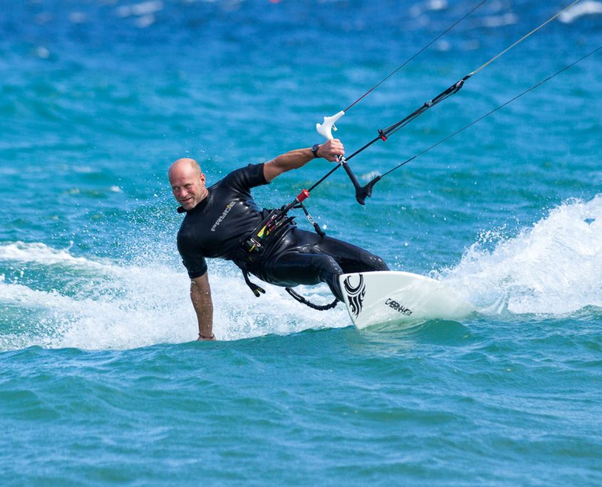Finch kitesurfing at Vela Baja